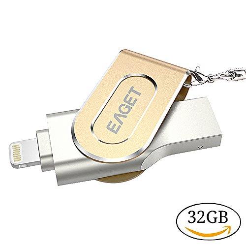 EAGET I80 Flash Drive Caja de metal de 32 GB USB 3.0 Memory Stick Lightning Connector Memoria de almacenamiento externo Memoria de disco de expansión para iOS iPhone / iPad / iPod / Mac / PC / Laptop