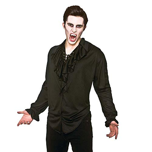 Adult Mens Halloween Black Pirate/ Vampire Shirt Fancy Dress Costume-Extra Large