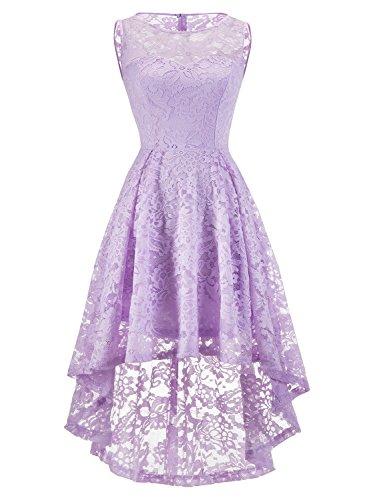 MuaDress MUA6006 Elegant Kleid aus Spitzen Damen Ärmellos Cocktailkleider Ballkleid Lavender XS (Spitze Ruck)