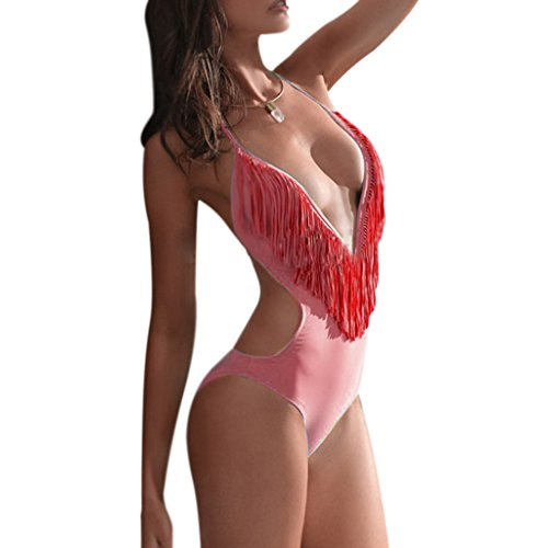 Pièce monobloc col en V, pour maillot de bain Bikini Maillot de bain Rouge - Rouge