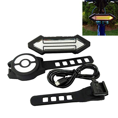 Denret3rgu Fernbedienung USB Lade 2 Pfeil Wireless Fahrrad Schwanz Blinker Licht Schwarz -