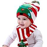 SPECOOL Cappello Sciarpa Natalizi Set, Novità LED Cappelli di Natale Lavorato Maglia Divertente Sciarpa Calda Invernale con Pompon per Bambini Compleanno Bambini Halloween Festival
