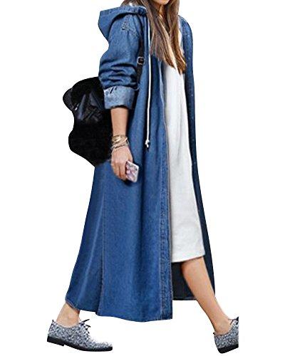Damen Herbst und Winter Elegant Mäntel Trench Coat Outwear Wasserfall Schnitt Jacke Lang Kurz dünner Dunkelblau L