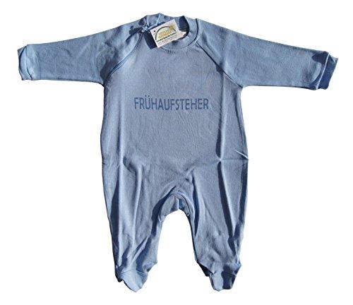 Baby Schlafanzug einteilig mit Fuß blau Frühaufsteher (62/68)