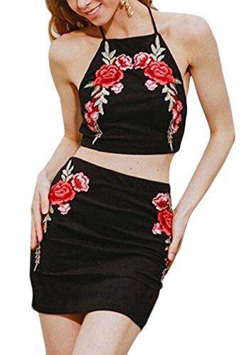Damen Set Crop Tops+Skirts Slim Neckholder Rückenfrei Bestickt Floralem Vintage 2 Stück Junger Modisch Abendmode Blusen Cocktailkleid Ballkleid Partykleid (Belted Kostüme Print)