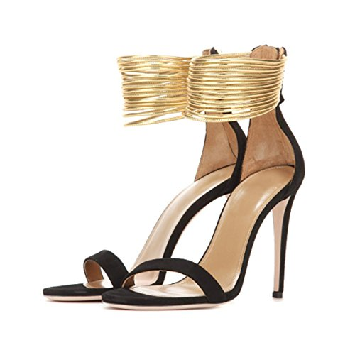 uBeauty Damen Stiletto Knöchelriemchen Große Größe Sandalen Ankle Buckle Strap Knöchel High Pumps Schwarz Nubuk