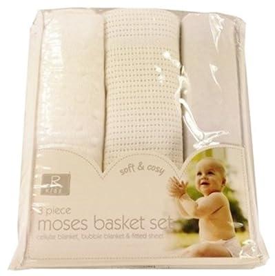 3pc Moses Basket Set Baby Bedding Kit * Cellular Blanket Bubble Blanket Fitted Sheet...