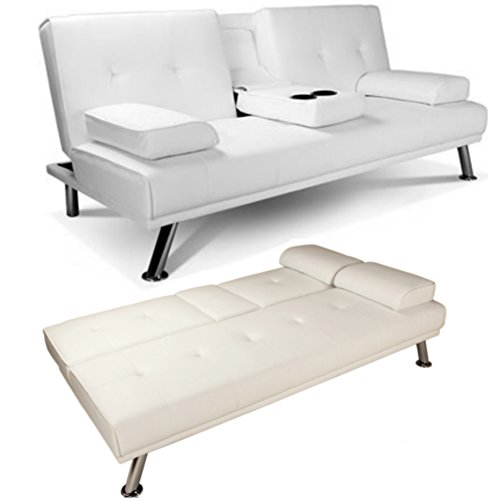 white faux leather sofa bed double click clack settee 2 seater 3 seater modern living room. Black Bedroom Furniture Sets. Home Design Ideas
