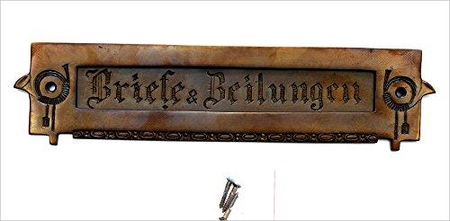 Graf von Gerlitzen Antik Style Jugendstil Briefschlitz Briefklappe Brief Schlitz Klappe Brief Einwurf Briefeinwurf Post Postklappe Messing TLP-1A