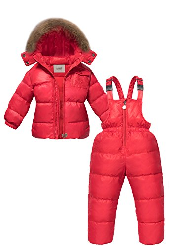 Zoerea bambina inverno nevesuit, i più nuovi bambini set di abbigliamento invernale con cappuccio anatra down giacca + pantaloni nevesuit vestiti caldi 130 (altezze consigliata 115-125cm) rosso