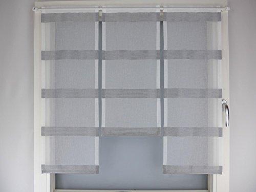 Miniflächen-Set silbergrau natur gestreift Scheibengardine
