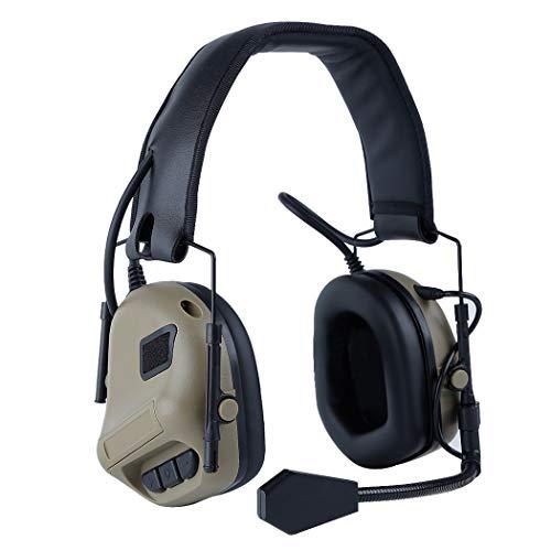 Taktisches Headset,Fansport Kommunikations Headset Tragbarer Helm Stereo Headset Airsoft Headset mit Mikrofon Taktischer Kopfhörer Kopfhörer mit Mikrofon für Airsoft Paintball Jagd