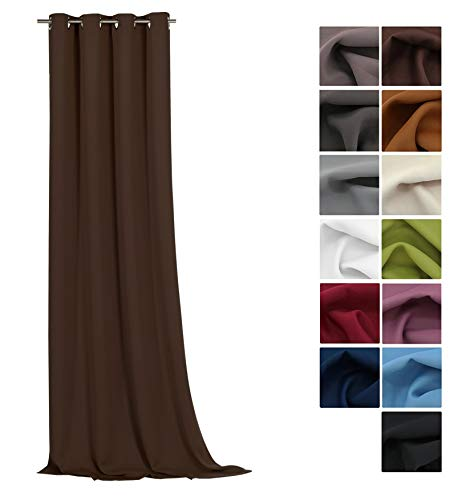 Fashion-and-joy - tenda oscurante termica con occhielli, 245 x 135 cm (altezza x larghezza), elevata qualità cioccolato