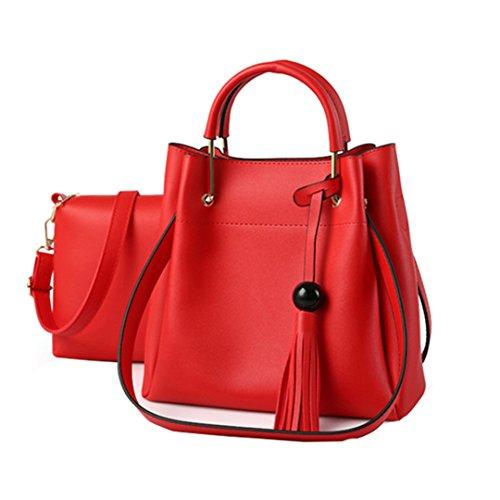 Wewod Leder Umhängetasche mit Quaste Damen Beutel Handtaschen Groß Reise Messenger Tasche Einfarbige Kuriertaschen (Rot) (Einfach Selber Machen Kostüme)