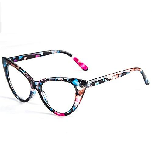 Dollger Cateye Gläser löschen Objektiv reizende Schutzbrillen Frauen Weinlese (Katzenaugen Brille Und Weiß Weinlese Schwarz)