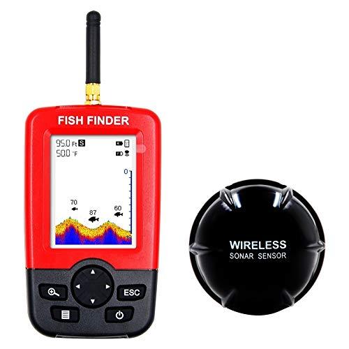Yanyangqing Fischfinder, tragbarer Fischfinder Fischfinder mit kabelgebundenem Sonarsensor und LCD-Display Portable Angeln Gps