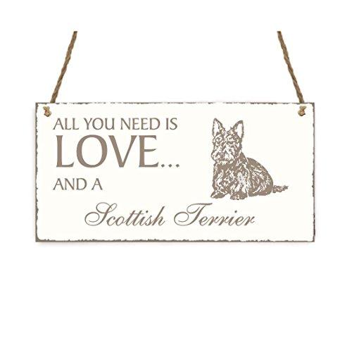 Targa « All You Need Is Love and a Scottish Terrier » cane Shabby Vintage targa in legno Targa per porta