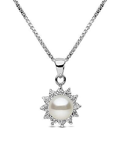 Kimura Pearls - 7.0-perles Argenté 7,5 mm bouton de culture d'eau douce Blanc Perles AA Pendentif et Chaîne Serpent Extensible De 16 à 18 pouces