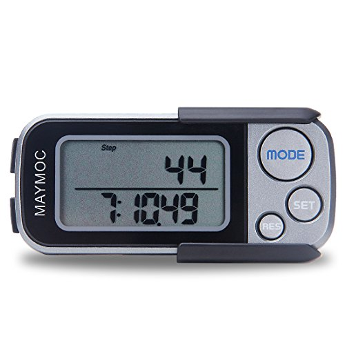 MAYMOC 12 Monate Garantie 30 TAGE-SPEICHER Multifunktionale 3D Pedometer mit Clip und Armband, extrem genaue Schrittzähler, zu Fuß erreichbar Miles und Km, Kalorienzähler,