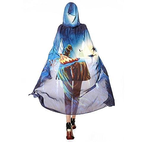 Beauté Top Femmes Nouveauté citrouille en mousseline imprimé Cap écharpe Halloween Poncho Shawl Wrap (Bleu)