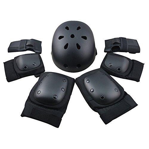Erwachsene Radsport Youth Kinder Set–schutzausrüstungen Helm Ellbogen Knie Handgelenk Pads für Skateboard Inlineskates Bike Outdoor Sports, Schwarz , L:22.6-23.8 inch Head circumference