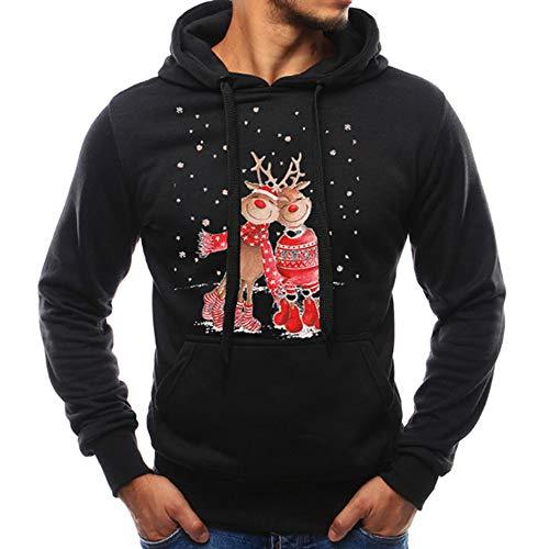JiaMeng Männer Weihnachten Kapuzen Pullover Herbst Winter Weihnachten Elch Casual Sweatshirt Weihnachten Hoodies ()