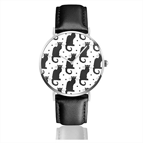 Business Analog Watches,Le Chat Noir Black Cat On White with Black Dots Classic Stainless Steel Quartz Waterproof Wrist Watch with Leather Strap (Chat Und Date)