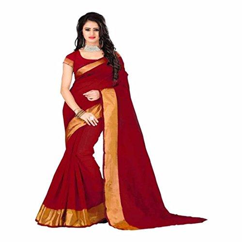 Indian Handicrfats Export Applique Kanjivaram Cotton Saree (Red) Red Saree