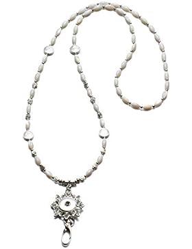 Soleebee Klassische Handgemachte Perlen ID-Kartenhalter Lanyards Halskette mit Strass Click-Button Verschluss...
