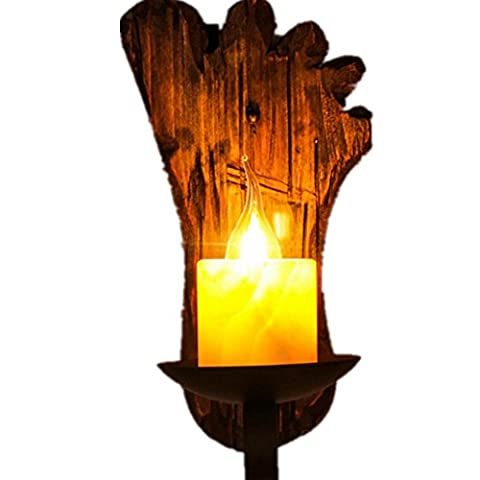 BJVB Allée verre solide bois bouton mur lampe rétro Café Restaurant net bougeoir créatif personnalité chevet bois bois chambre Lighting(15*23*30cm)