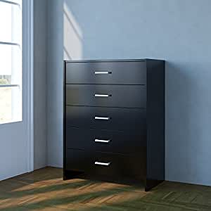 Home Source Chest Of Drawers Black Bedroom Furniture 5 Drawer Silver Handles Metal Runners