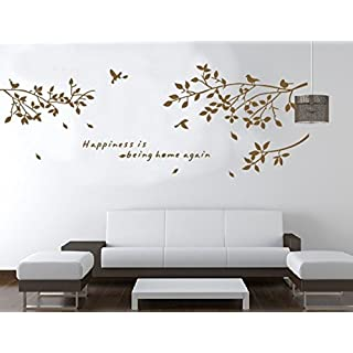 large Brown Tree Branches Birds Removable Vinyl Wall Stickers Mural Home Art Decal Kids Room Decor