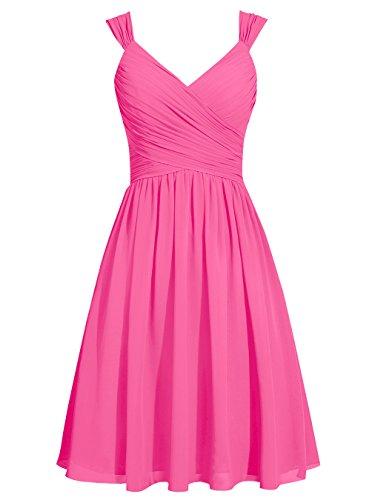 Dresstells Damen Kurz Chiffon Brautjungfernkleider V-Ausschnitt Cocktail-Kleider Koralle
