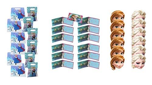 Disney Frozen Party- und Geburtstagspaket; bestehend aus 12 Einladungen, 12 Masken und 12 Taschen ()