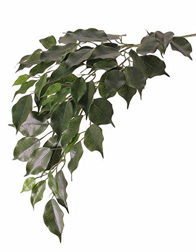 artplants Set 12 x Künstlicher Ficus Zweig Yugi, schwer brennbar, 75 cm – 12 Stück Deko Blätterzweig/Kunstpflanze Birkenfeige