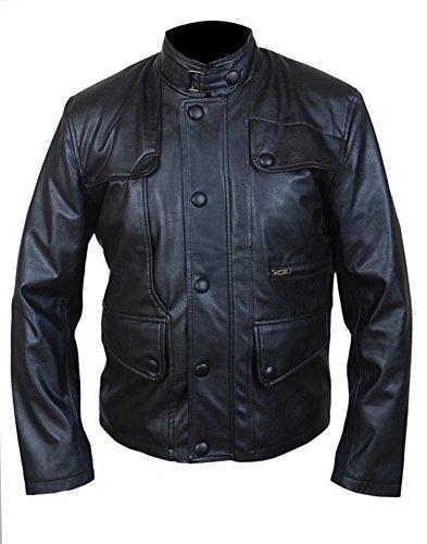 classyak Herren Fashion Spezielle Schlankes Design Reißverschluss & Knopfverschluss Leder Jacke Sheep Black