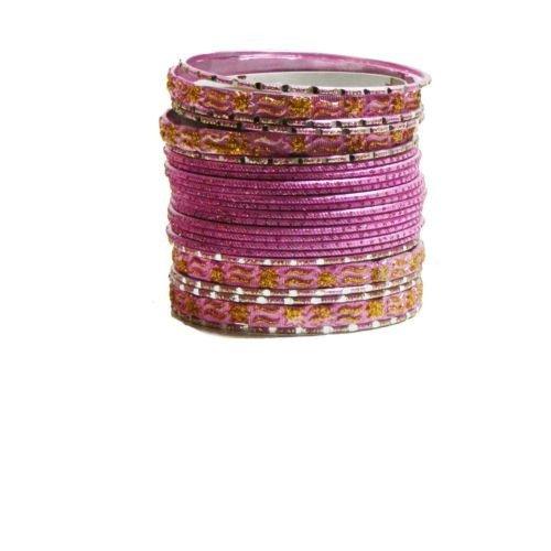 Indische Bangles 24 Armreifen Mahive rosa gold 6,5 cm mit Bindis Bollywood Sari Schmuck