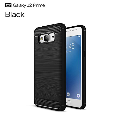 Galaxy J2 Prime Funda,COOLKE Carbono Fibra de Silicone Gel TPU Carcasa Carbono protección Funda Cover case para Samsung Galaxy J2 Prime/Grand Prime Plus - Negro