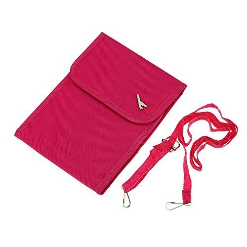 Mini-Umhängetasche / Handtasche, wasserdicht, klein, mehrere Taschen für Mobiltelefon, Portmonee, Karten und Reisepass, Textil, schwarz, S rosarot