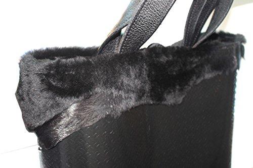 pelleRocK - Sac en linoléum et fourrure, gris noir