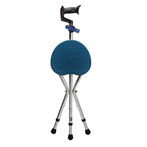 XIHAA Ältere Tripod Crutch Hocker Dicke Aluminiumlegierung LED-Licht Tragbare Kissen Krücke Hocker Einstellbare Rutschfeste Massage Reise Sport Angeln Braun Plus Blau,B (Krücken Plus)