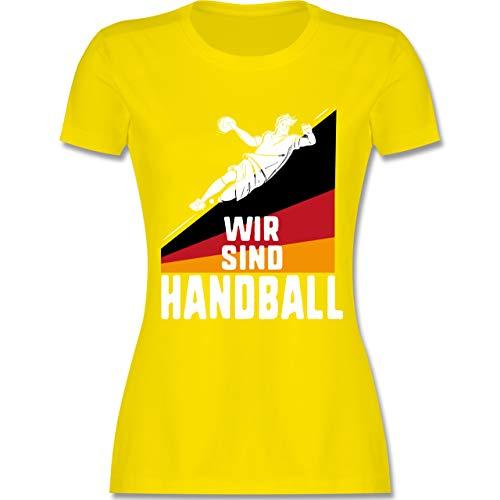 Handball WM 2019 - Wir sind Handball! Deutschland - XXL - Lemon Gelb - L191 - Damen Tshirt und Frauen T-Shirt