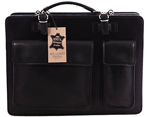 Männerarbeit Bag, Box Italienisch und Document Organizer, 100% echtes Leder Made in Italy Schwarz
