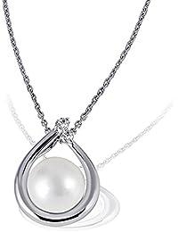 Goldmaid - Collier - Femme - Or Blanc 9 Cts 375/1000 2.32 Gr - Diamant - Perle d'eau douce