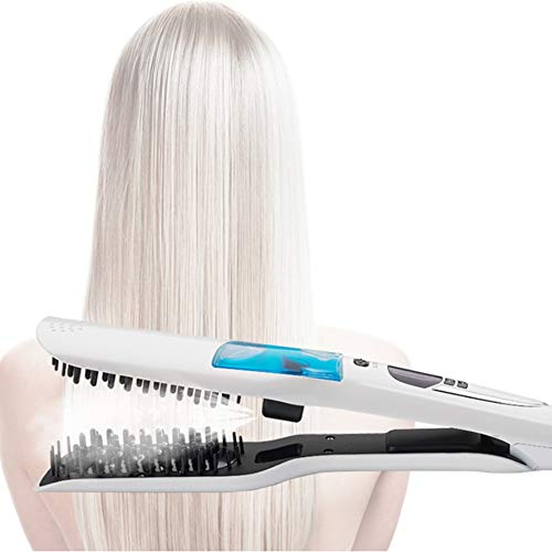 Hair - Cepillo eléctrico alisador de pelo (anti-sudor, 3D Ceramic Steam Comb Clip Wet And Dry Dual LCD Display Removable Water Tank 110-240 V)