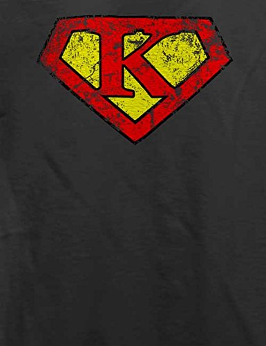 K Buchstabe Logo Vintage T-Shirt Grau