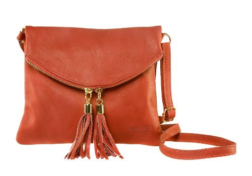 "Bags4Less ""Dubai"" Clutch/sera borsa/borsa da donna in vera pelle (22bx19h cm), (arancione), s (arancione)"