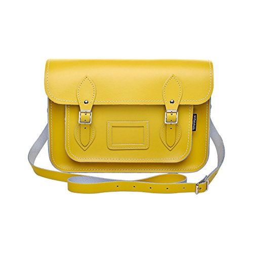 Zatchels - Sac cartable en cuir could pastel (Fabrication britannique à la main) - Femme Jaune jonquille