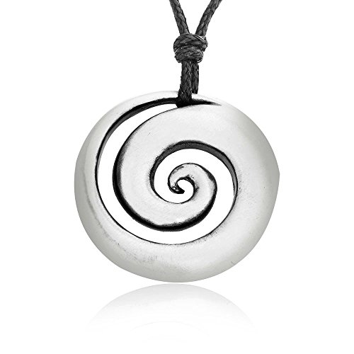 Llords Schmuck | Halskette mit hypnotischem Spiralmuschel Anhänger im Maori Koru Loop Design + Versilberter Verschluss, feinster Zinn Metall Modeschmuck Jewelers Loop