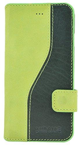 Suncase® Book-Style Ledertasche für das / iPhone 6 / 6s (4.7 Zoll) / Tasche *ECHT LEDER* Handytasche Case Etui Hülle mit Standfunktion und Kartenfach in Bicolor grün Grün
